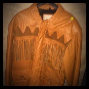 Awesome Lined Leather Fringe Man Jacket 46L